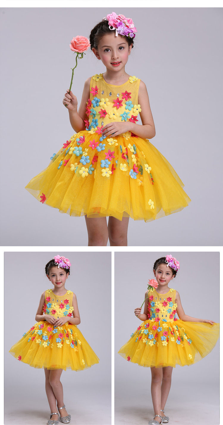 New summer baby girl Clothes print flower girl dress for wedding girls party dress with bow dress 16