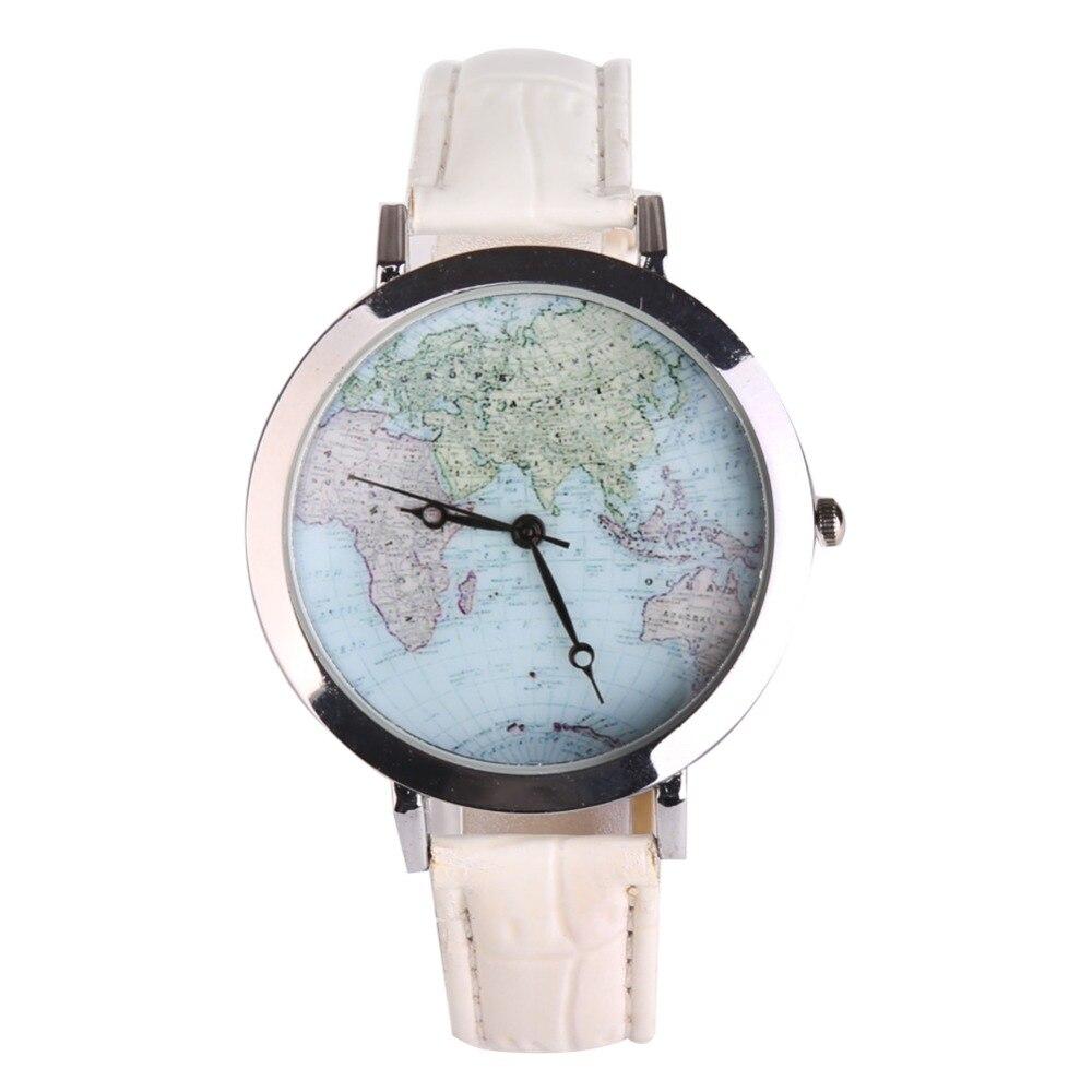 где купить  New Fashion Women Wristwatch Quartz Watch Leather Map Pattern Relogio Feminino Gifts Rejor Mujer Kol Saat Female Clock White  по лучшей цене