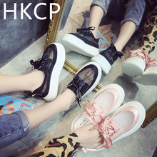 HKCP Womens 2019 summer new Korean version thick bottom platform lace-up womens shoes mesh butterfly C444