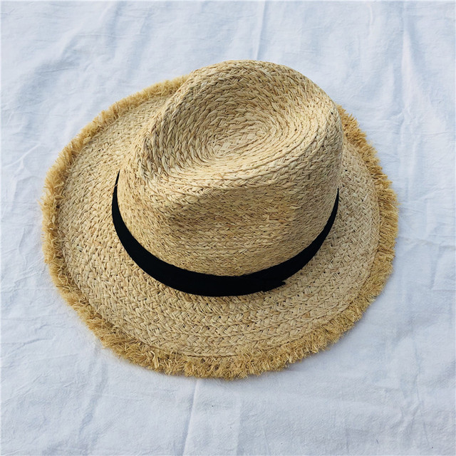 18553e66db967c Foldable Summer Straw Hat Wide Brim Fedora Sun Beach Hat Men Casual  Vacation Panama Straw Hat