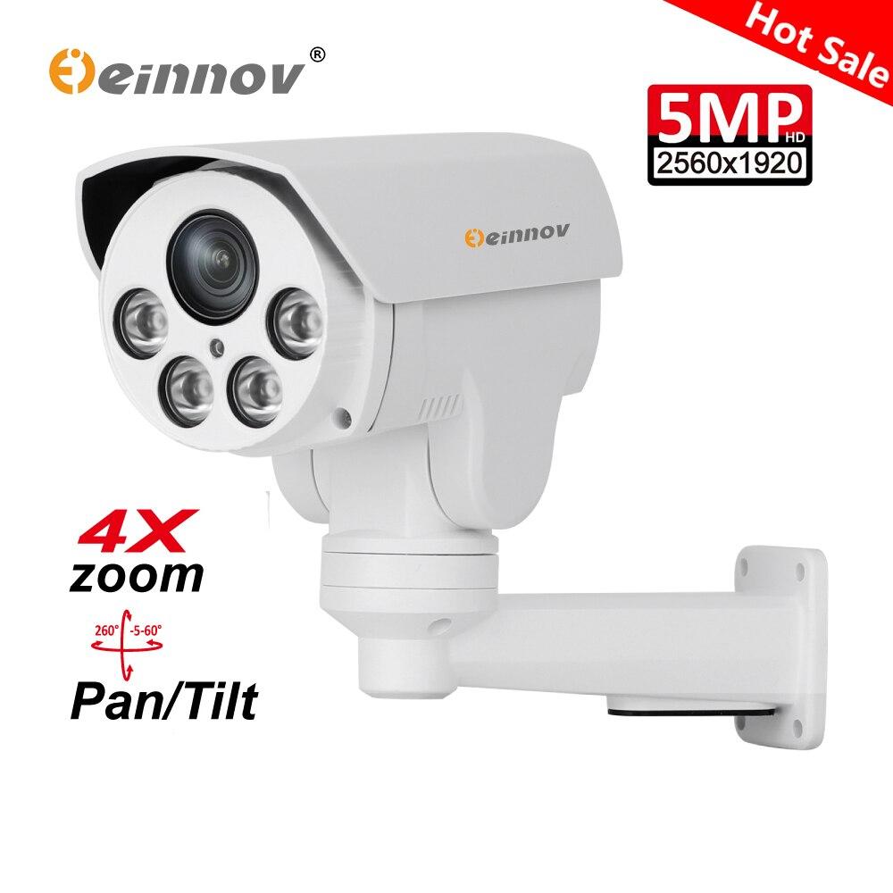 Einnov H 265 5MP 2MP Outdoor IP Camera Video Surveillance POE 4X Zoom PTZ Home Security