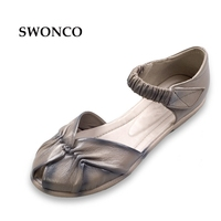 SWONCO Women's Sandals Summer Fish Head Genuine Leather Ladies Shoes Women Sandals Flat Casual Pleated Shoe Non slip Woman Shoes
