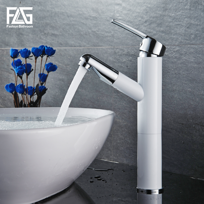 FLG Bathroom Basin Faucet Deck Mounted White Golden Mixer Tap Single Handle Cold and Hot Brass Vessel Sink Water Taps 508-11 luxury golden finish bathroom basin faucet single handle bathroom sink mixer faucet crane tap brass hot cold water deck mounted