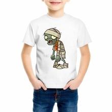 лучшая цена 2019 Children Plants Vs Zombies Print Funny Girls/Boys T-Shirts Kids Summer Tops Short Sleeve Clothes Game Baby T shirt 55C-1