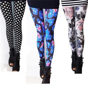 5 Patterns Pretty Long Leggings Dot Britain Flag Printed Leggings Summer Fall Slim Women Leggings On Sale