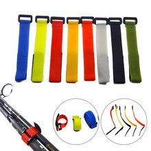 YTQHXY 10 шт. многоразовый держатель для рыболовной удочки, ремень для подтяжек, застежка на крючок, петля, шнур, стяжки, ремень, рыболовные снасти, аксессуары WQ329