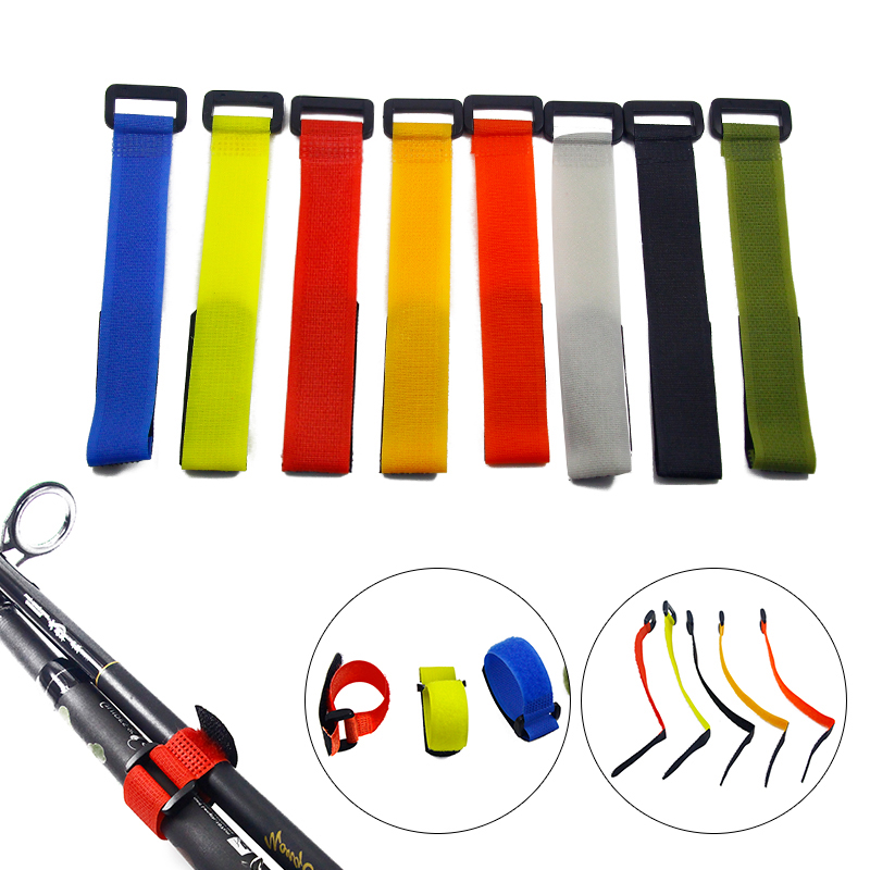YTQHXY 10pcs Reusable Fishing Rod Tie Holder Strap Suspenders Fastener Hook Loop Cord Ties Belt Fishing Tackle Accessories WQ329