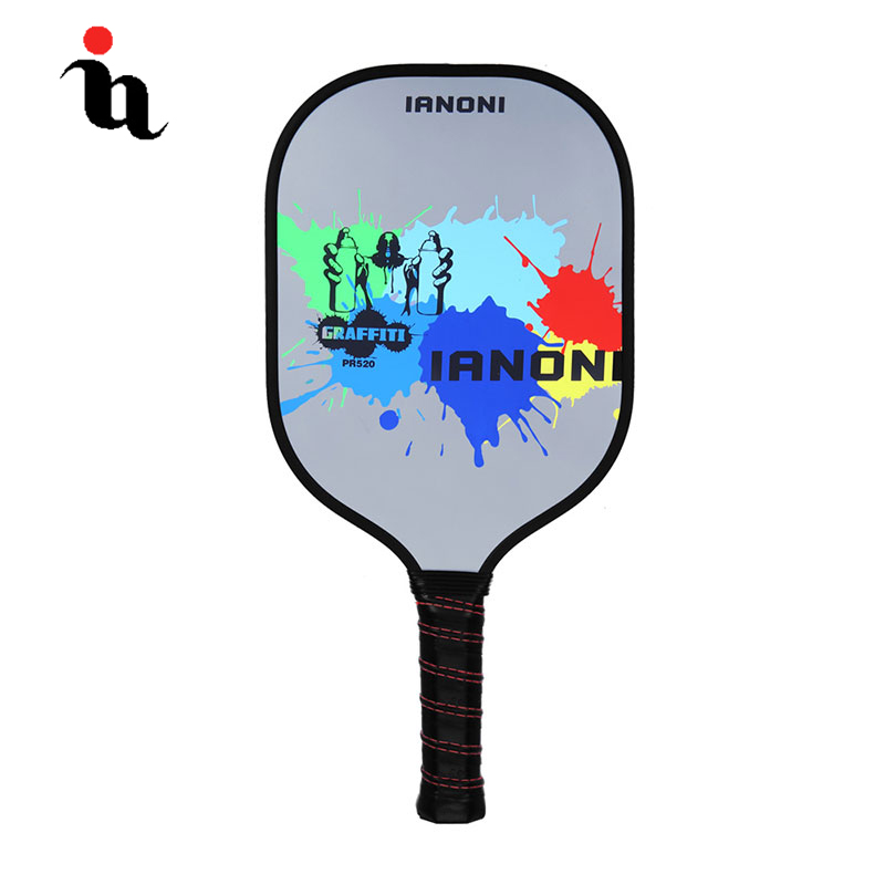IANONI Pickleball Racket Sport Ink Jet Letter Pattern Carbon Fiber Composition PE Honeycomb Core High Quality Pickleball Paddle high quality black letter pattern removeable wall stickers