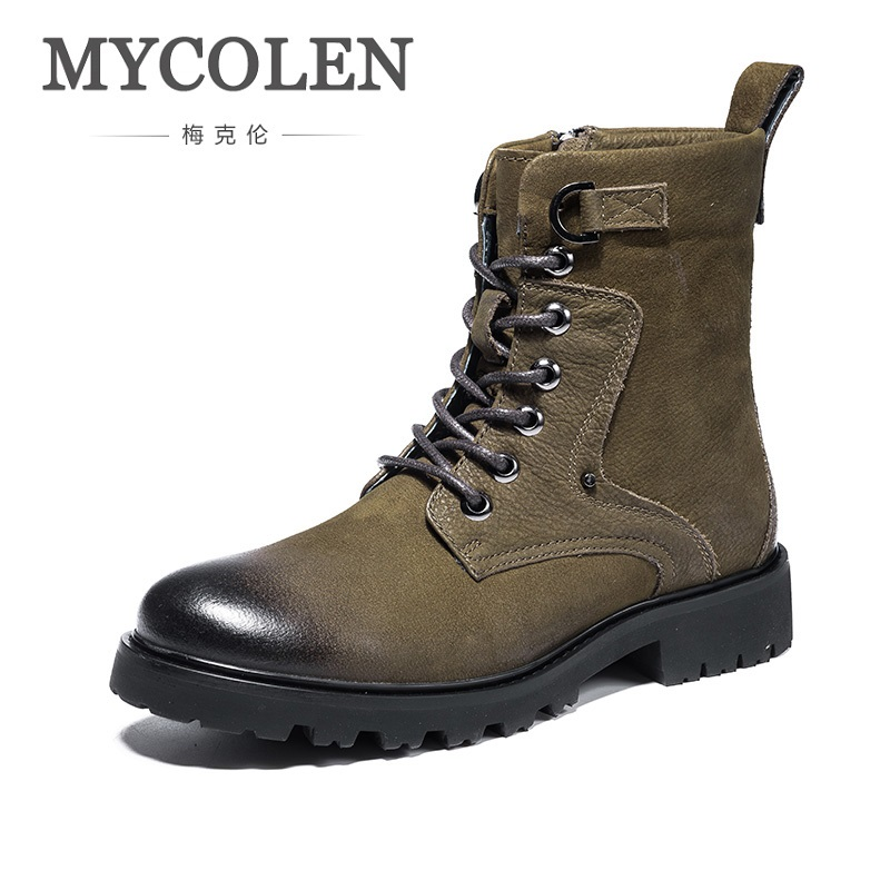 MYCOLEN 2018 Hot Sale New Men Winter Shoes High Quality Men Genuine Leather Boots Shoes Warm Winter Male Ankle Boots Bottine