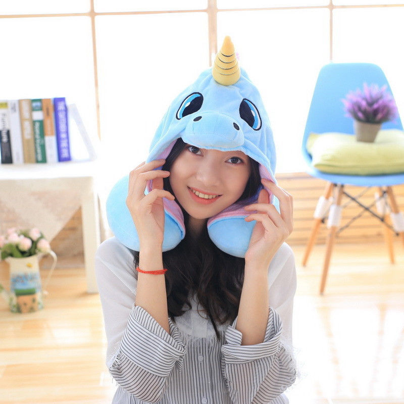 Unicorn Plush U Shape Pillow Pink Blue Cartoon Neck Rest Hooded Cushion Compact Cosplay