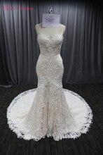 2020 בציר תחרה שמלת כלה מתוקה מחשוף סקסי ללא משענת כלה שמלות כלה ארוך רכבת אישה מסיבת נישואי שמלות