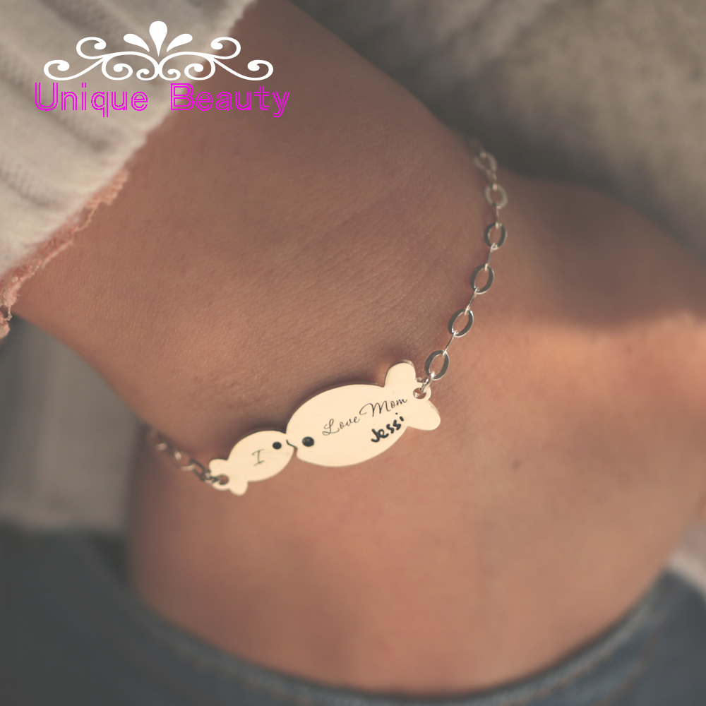 Mom Baby Kiss Fish Bracelet 925 Sterling Silver Personalized Engraved Signature Customized Name Bracelet New Mother Gift