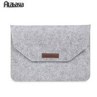 Luxury Retro Gray Wool Felt Laptop Sleeve Pouch Case For Macbook Pro 13 15 Retina Air