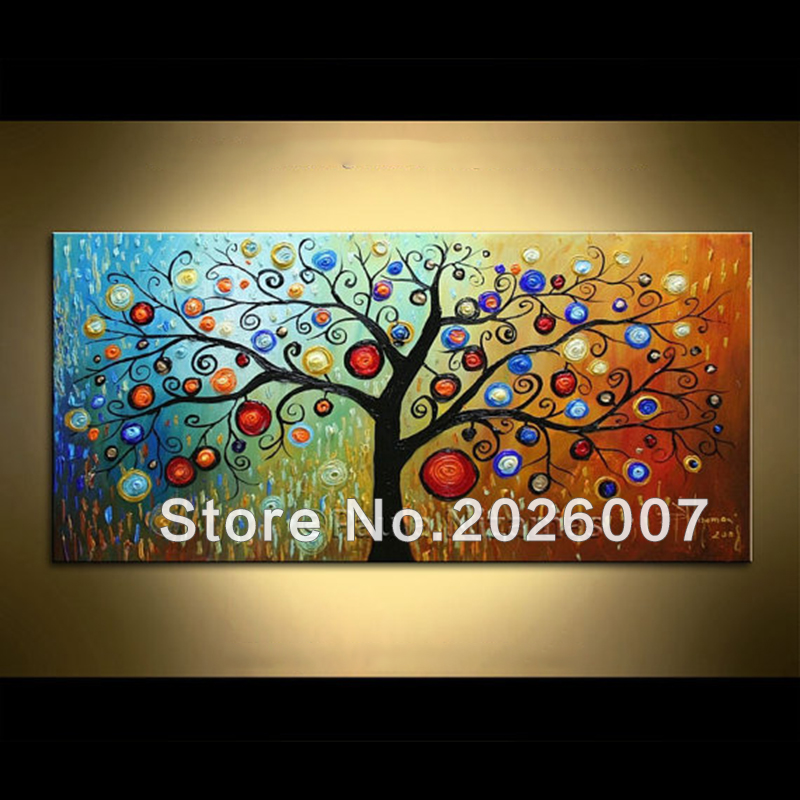 Hand Painted Landscape Modern Magic Tree Palette Knife thick oil painting Canvas Wall Decoration Living Room Artwork Fine Art