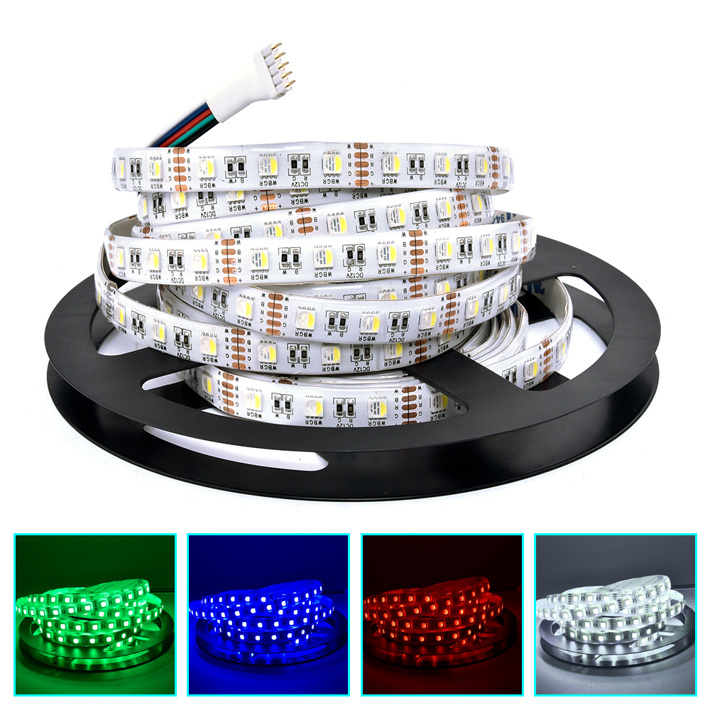 5m rgbw led strip 5050 12v flexible led light tape rgb white warm white 4 in 1 chip 60leds m for. Black Bedroom Furniture Sets. Home Design Ideas