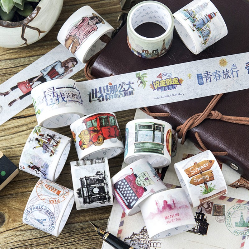 3 cm X 5 m Together Travel series city stamps girl washi tape children diy decor masking tape stationery scrapbooking tools oem 30 x 30 diy 30x30cm