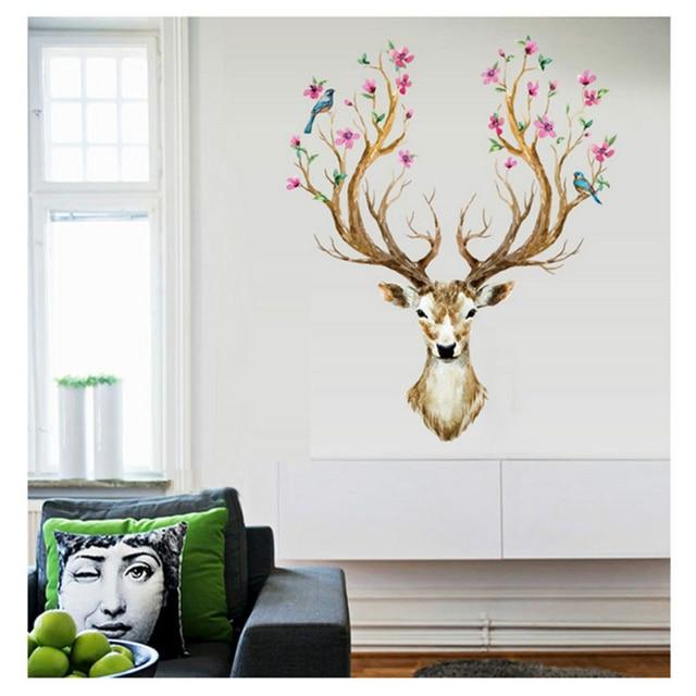 Flower Deer Head Wall Sticker