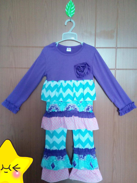 High Quality Fall Winter Chirdren Boutique Sets Purple Flower Top Ruffle Chevron Stripes Pants Girl Vintage Remake Outfit F037