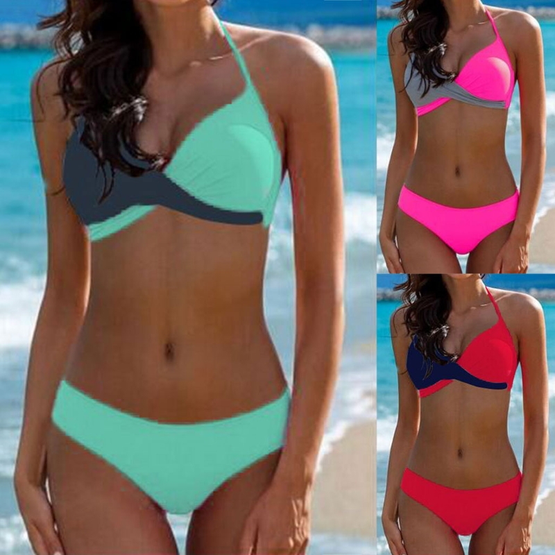 4 Colors Women Sexy Bikini Color Block Bandage Push-UP Padded Bra Halter Swimsuit Bikini Set New S/M/L/XL