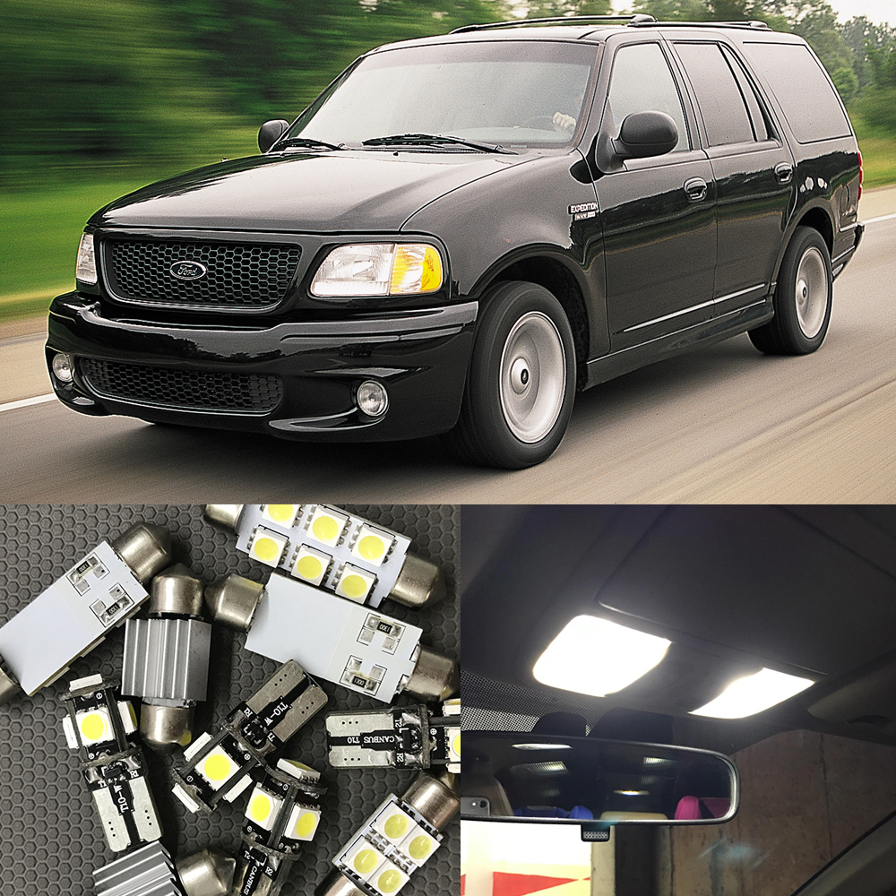 10pcs xenon white led light bulbs interior package kit for ford expedition 1999 2000 2001 2002