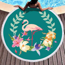 Cartoon Flamingo Series Beach Towel Round Microfiber Towels for Living Room Home Decor Boho Style Bath