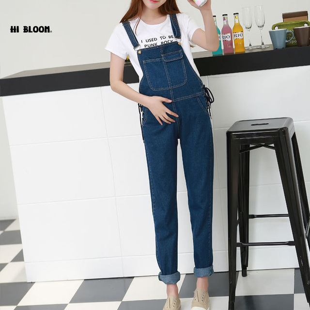 Spring Autumn Elastic Maternity Jeans Pregnant Denim Pants for Pregnant Women Pregnancy Belly Overalls Suspender Trousers