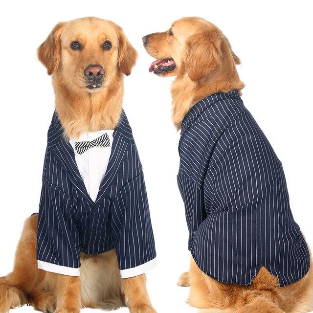 Grandi Vestiti Del Cane Cani di Grossa Taglia Cappotto Stripes Bowknot Tuxedo ab