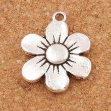 6-petal Flower Spacer Charm Beads 100PCS Antique Silver Pendants Alloy Handmade Jewelry DIY L338 17x21.6mm