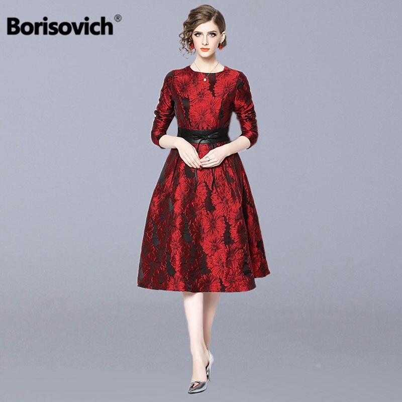Borisovich dames élégantes robes de fête nouvelle marque 2019 printemps mode o-cou Vintage a-ligne femmes robe longue décontractée N399