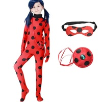 Miraculous Ladybug Cosplay Costume With Eye Mask Red Bag For Children Girls Adult Woman Ladybug Miraculous