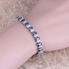 Exquisite Rainbow Mystic & White CZ 925 Sterling Silver Link Chain Bracelet 7 inch S0355