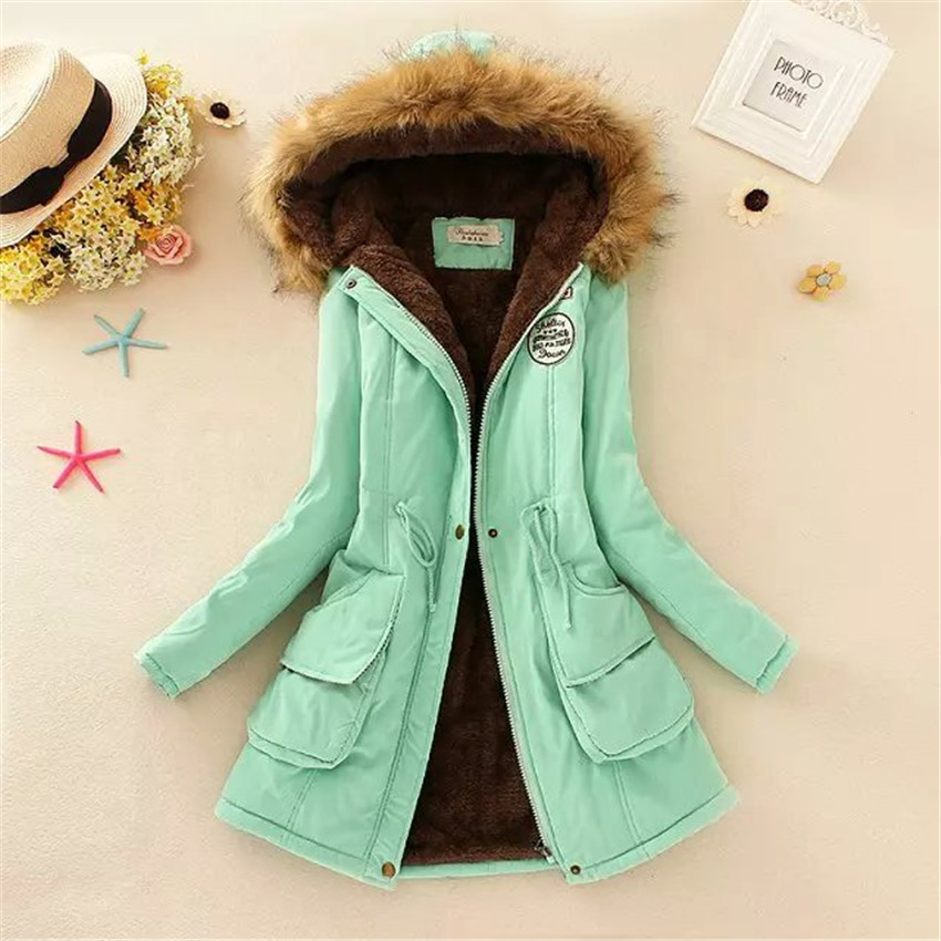 Hot Women Winter Warm Coat Female Autumn Hooded Cotton Fur Plus Size   Basic     Jacket   Outerwear Slim Long Ladies chaqueta   jackets