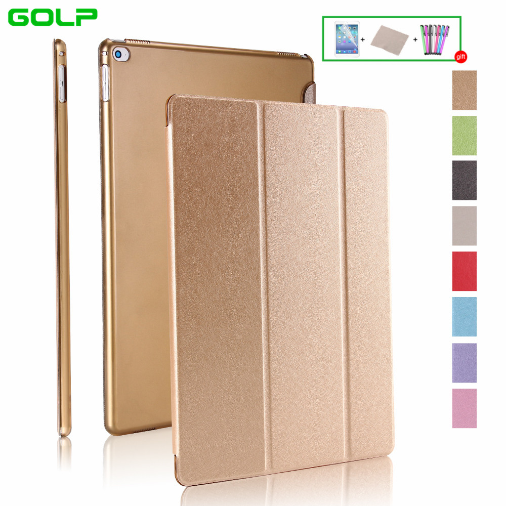 Case for iPad Pro 12.9, GOLP Smart PU Leather Silk Pattarn Grain Magnetic Cover translucent PC back Case for iPad Pro 12.9 case for ipad pro 12 9 inch esr pu leather tri fold stand smart cover case with translucent back for ipad pro 12 9 2015 release