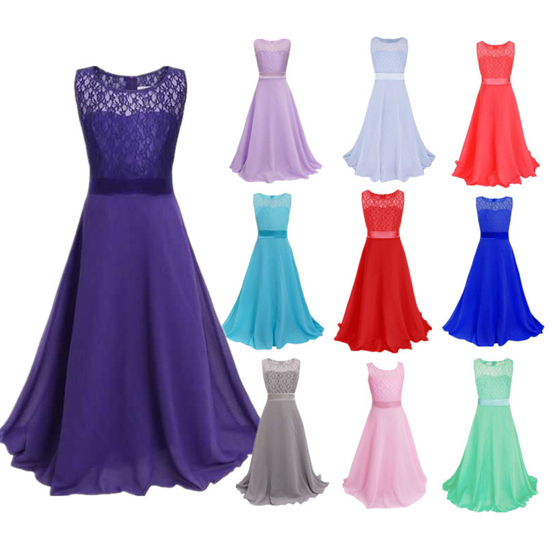New Summer Girls Dress Sleeveless O Neck Children Kids Princess Long Lace Dresses for Wedding Birthday Party Girls Costume худи мужские