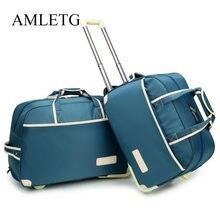 afc5aaa743 Valigia di rotolamento Sacchetto Dei Bagagli di Modo Impermeabile  Ispessimento Trolley Caso Bagaglio Trolley Da Viaggio