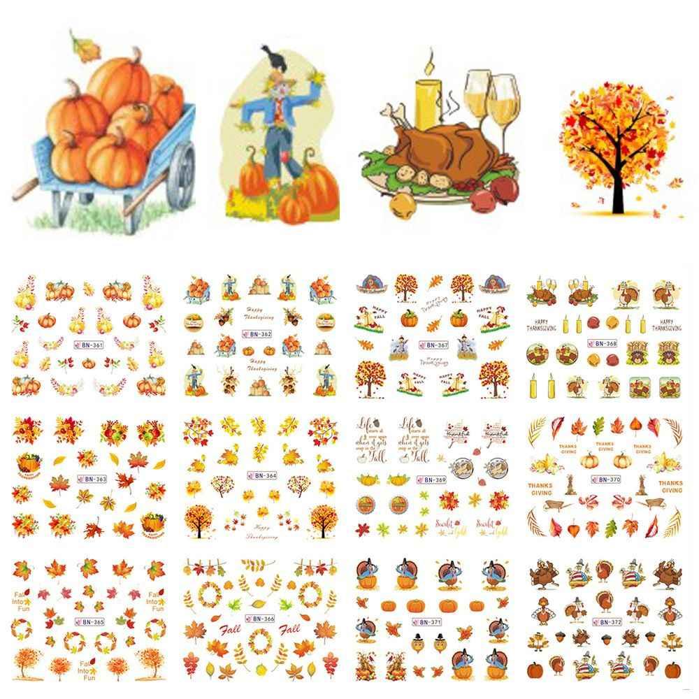 12 個ミックス秋ネイルステッカー水デカール感謝祭イエローゴールド葉トルコ透かしスライダーマニキュアの装飾のヒント