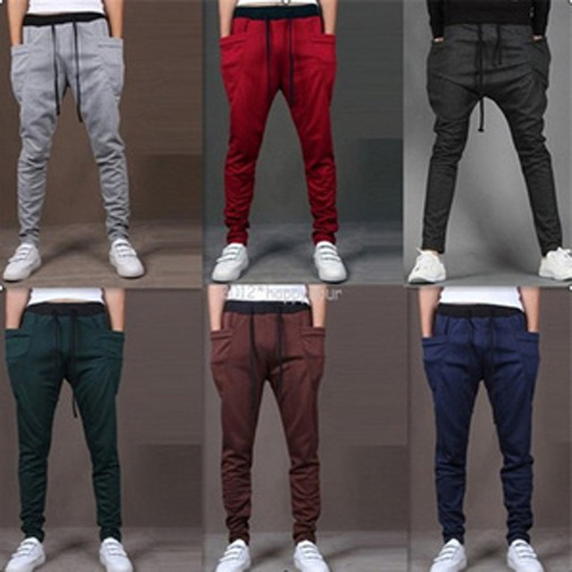 2016 Bolso Único Homens Carga Calças Dos Homens Corredores Sweatpants Harem Pants Calças Dos Homens Homens Pantalones Hombre