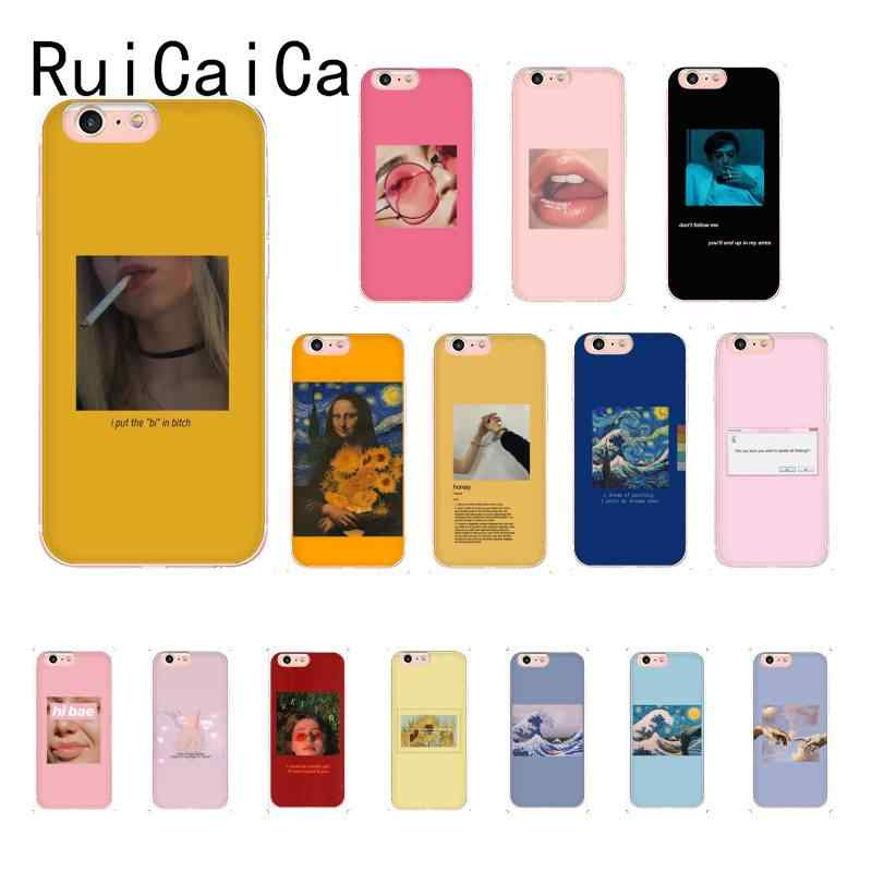 Ruicaica Great art aesthetic van Gogh Mona Lisa painting Lips Phone Case for iPhone 8 7 6 6S Plus X XS MAX 5 5S SE XR 10 Cover