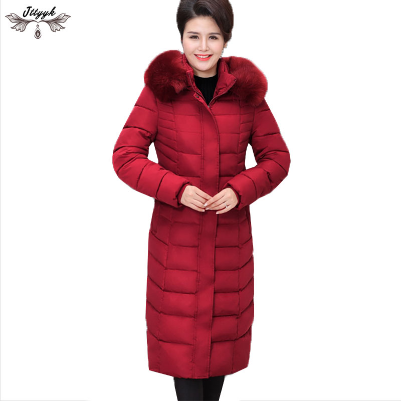 2019 Plus size 6XL Middle aged Female Winter Down cotton Jacket Coats Hooded Long Parka Winter