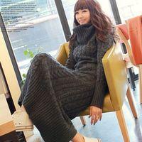 2017 kleding fabriek direct groep Koreaanse stapels gebreide trui slanke coltrui kraag jurk groothandel lange twist