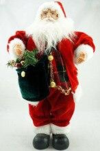 Козетта красный бархат Шотландка Санта Клаус куклы сбор Рождественские Декор зеленый мешок 18″