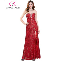 Grace Karin Evening Dresses 2017 Strapless High Slit Side Red Sequin Formal Evening Gowns Pageant Long Wedding Party Dresses