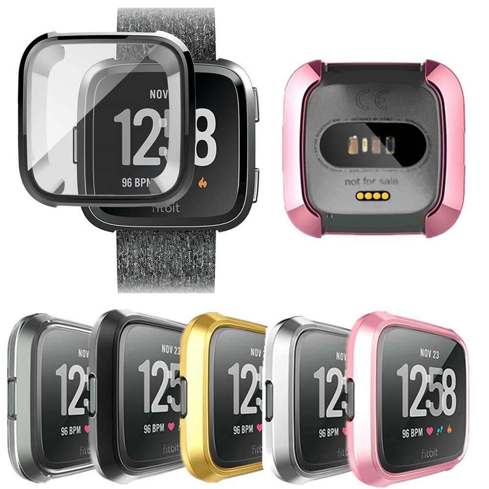 Ultra-Thin Soft Silicone Plating TPU Case Cover For Fitbit Versa Full Protection Cases Wearable Devices Smartwatch Protector
