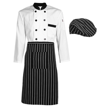 Long Sleeve Kitchen Cooker Working Uniform Chef Waiter Waitress Coat Double Breast Cooker Work Restaurant Chef Jacket Plus Sizes(China)