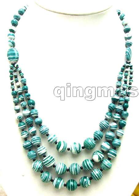 "SALE Noblest Long 20"" Big 4 to 12mm Round Green zebra stripe agate 3 strings Necklace-nec5697  Wholesale/retail Free shipping"