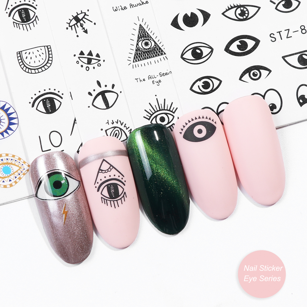 Image 3 - 1pc Eye Series Water Transfer Slider for Nail Art Decorations Charming Sticker Nail Manicure Tattoos Foil Decals CHSTZ818 823-in Stickers & Decals from Beauty & Health