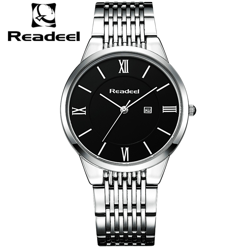 Readeel Luxury Brand Feminino Steel Men Quartz Wristwatch Fashion Casual Dress Business Sport Watch Men Clock Relogio Masculino meibo brand fashion women hollow flower wristwatch luxury leather strap quartz watch relogio feminino drop shipping gift 2012