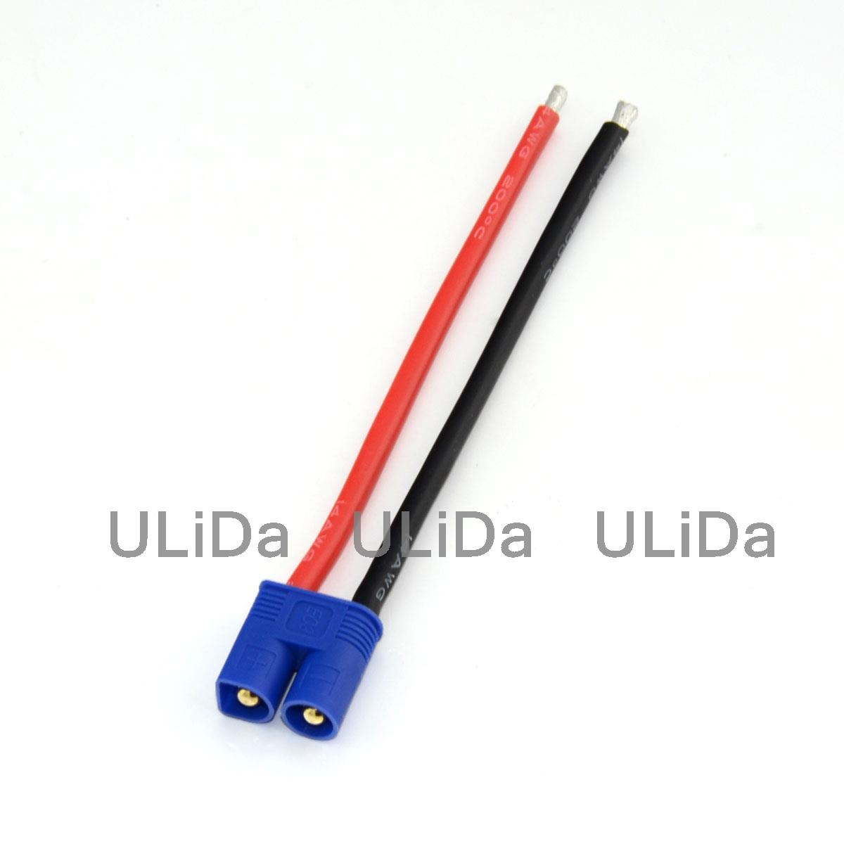 3 Pcs EC3 Male Connector 10CM Silicone Wire 14AWG Cable for RC Lipo ...