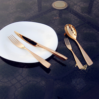 4pcs Top Quality Stainless Steel Dinnerware set Gold Polishing Knife Fork Dpoon Rose Golden Cutlery set Free shipping