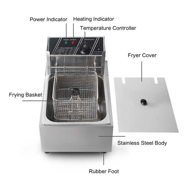 8L Electric Deep Fryer Stainless Steel Single Tank Commeicial Fryer French fries Chicken Frying With Basket smokeless 3250W 1